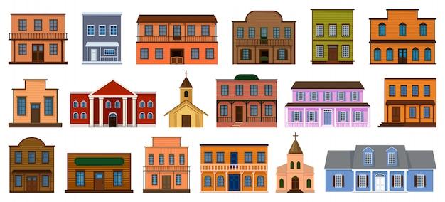 Illustrazione di edifici del selvaggio west. set di cartoni animati