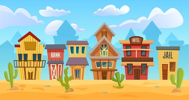 Illustrazione della città del selvaggio west