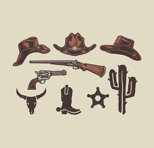 Oggetti da cowboy del selvaggio west, stile della linea disegnata a mano con colore digitale, illustrazione