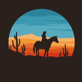 Illustrazione piana del selvaggio west
