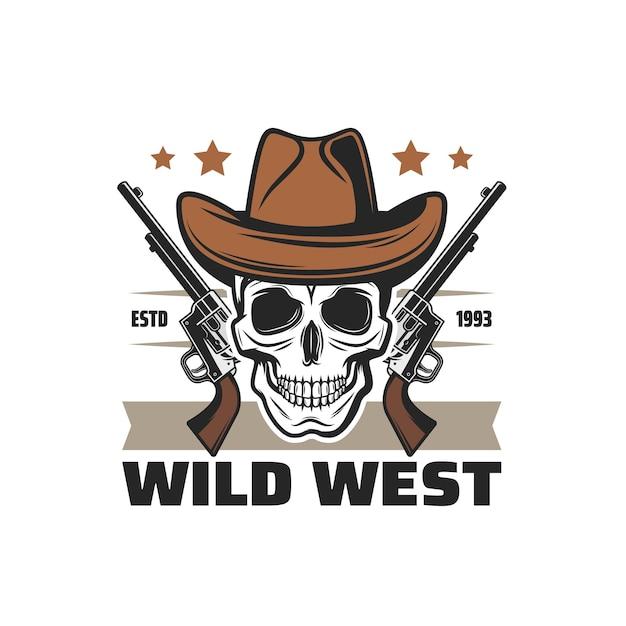 Cranio del cowboy dell'icona del selvaggio west e pistole a pistola, simbolo di vettore occidentale americano. texas saloon e arizona rodeo ranger o bandito ladro teschio in cappello da cowboy