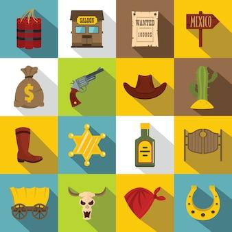 Set di icone wild west, stile piatto