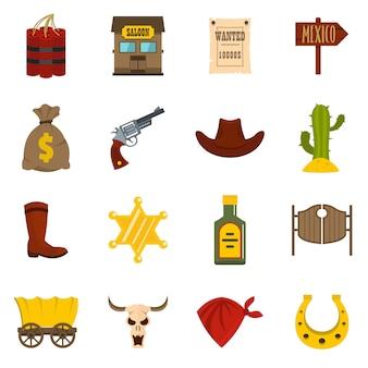 Set di icone di selvaggio west