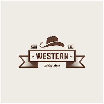 Ispirazione per il cappello da cowboy con etichetta wild west e rodeo