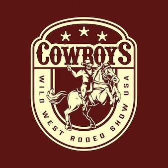 Distintivo vintage di rodeo selvaggio west