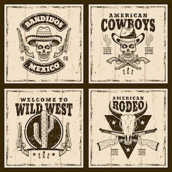 Emblemi del selvaggio west sullo sfondo con trame