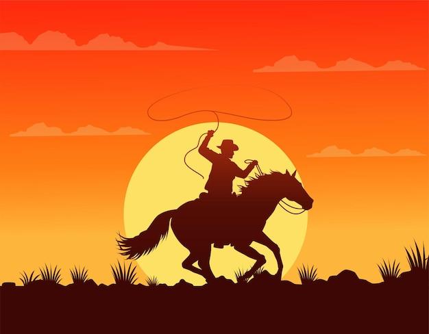 Scena del tramonto del selvaggio west con cowboy a cavallo in corsa