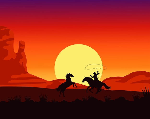 Scena al tramonto del selvaggio west con cavallo da lazo da cowboy