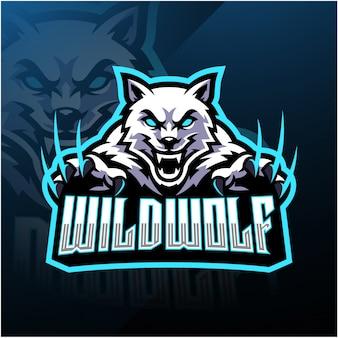 Disegno del logo mascotte lupo selvatico esport