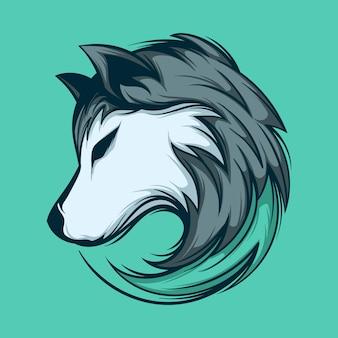 Testa di lupo selvaggio