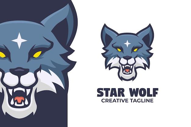 Illustrazione del logo della mascotte del lupo selvaggio