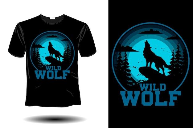 Design vintage retrò di lupo selvaggio mockup