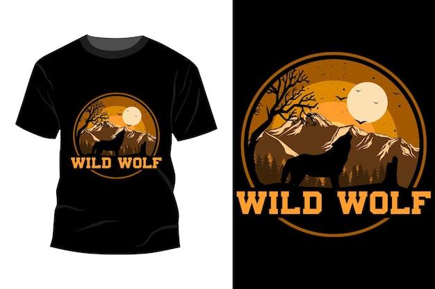 T-shirt lupo selvaggio design vintage retrò