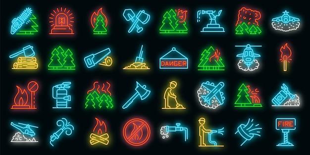 Set di icone di incendi boschivi. contorno set di icone vettoriali incendi boschivi colore neon su nero