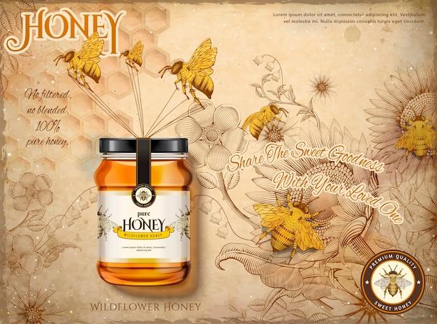 Annunci di miele millefiori, api mellifere che trasportano vasetto di vetro miele nell'illustrazione, giardino di fiori retrò e sfondo di api in stile di ombreggiatura incisione, tono beige