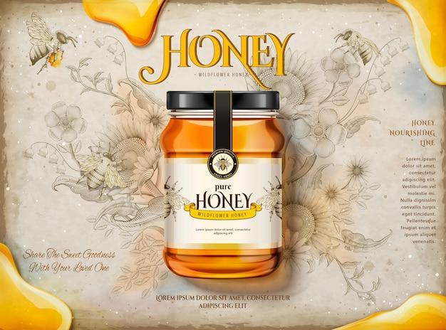 Annunci di miele millefiori, vaso di vetro realistico con miele delizioso nell'illustrazione, giardino di fiori retrò con sfondo di api mellifere