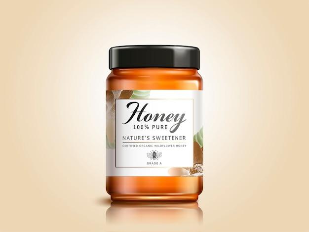 Design del pacchetto di prodotti a base di miele millefiori in illustrazione 3d