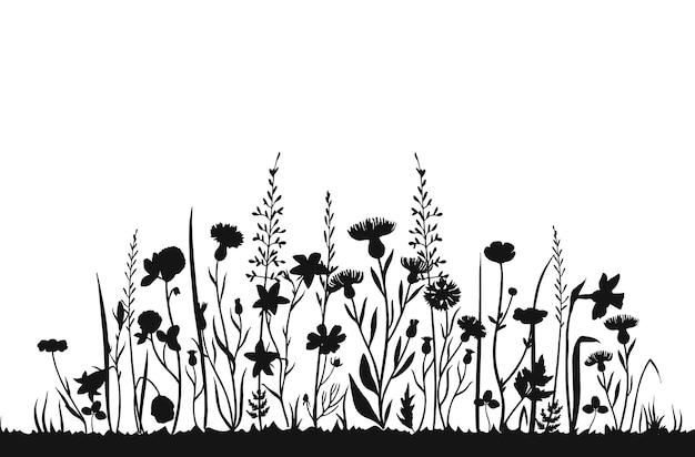 Sagome di fiori selvatici. campo di primavera di erba selvatica. sfondo di erbe estate vettoriale