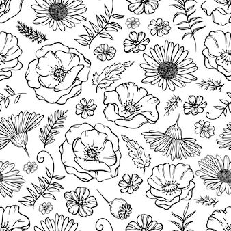 Wildflower sketch monocromo schizzo floreale con papavero camomilla e foglie cartoon seamless pattern