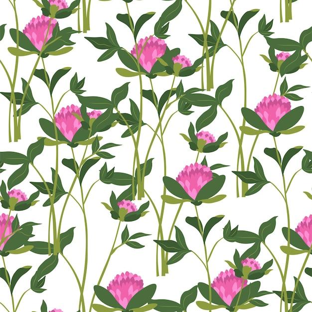 Fiori di campo in fiore, flora rigogliosa e rigogliosa con stalle e foglie. verde e fogliame di piante e fiori. modello senza cuciture o sfondo, stampa o carta da parati. vettore in stile piatto