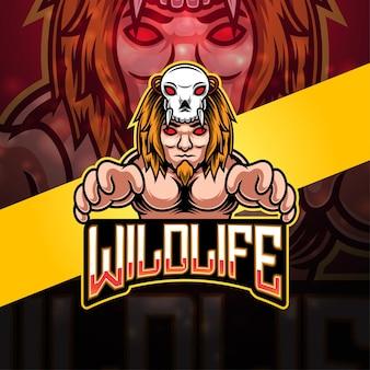 Design del logo della mascotte dell'esportazione della fauna selvatica