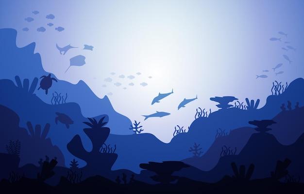 Fauna selvatica pesci animali marini coral ocean underwater aquatic illustration
