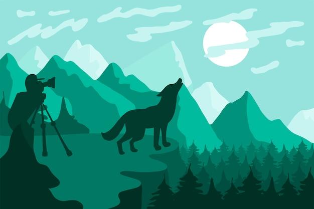 Fauna selvatica, illustrazione piana di vettore del fotografo della natura. paesaggio minimalista con silhouette di lupo