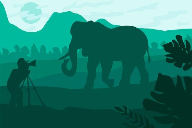 Illustrazione piana del fotografo della fauna selvatica. paesaggio notturno minimalista con sagoma di elefante