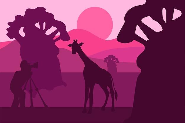 Illustrazione di vettore del fotografo della fauna selvatica. panorama serale minimalista con silhouette di giraffa