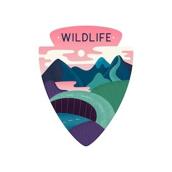 Disegno vettoriale della fauna selvatica con montagne