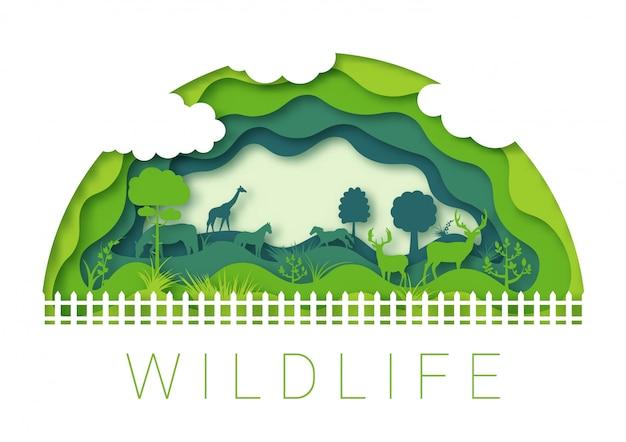 Ambiente dello zoo della fauna selvatica, progettazione di origami di arte della carta 3d