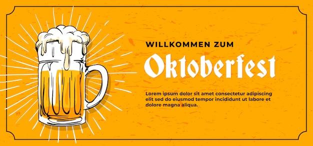 Modello di banner di willkommen zum oktoberfest