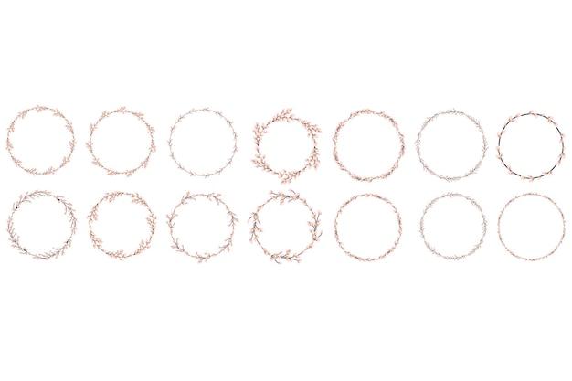 Set di ghirlande di salice. corona rotonda di salice pasquale. illustrazione vettoriale