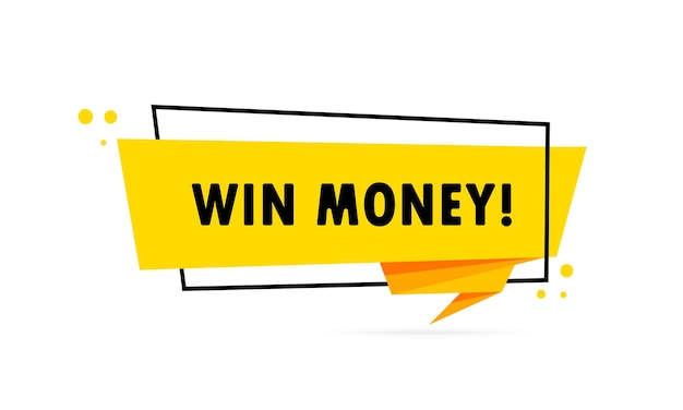 Vincere soldi. insegna del fumetto di stile di origami. poster con testo vinci soldi. modello di disegno dell'autoadesivo.