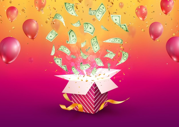 Vinci denaro illustrazione vettoriale gioco d'azzardo banner pubblicitario aperto scatola regalo strutturata con dollaro