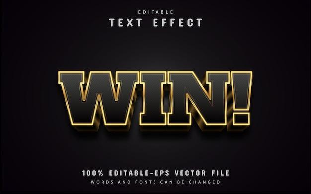 Vinci il testo, effetto di testo in stile oro 3d