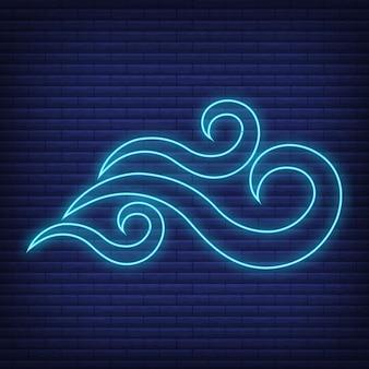 Icona del vento bagliore in stile neon, concetto di condizioni meteorologiche contorno piatto illustrazione vettoriale, isolato su nero. sfondo di mattoni, roba etichetta clima web.