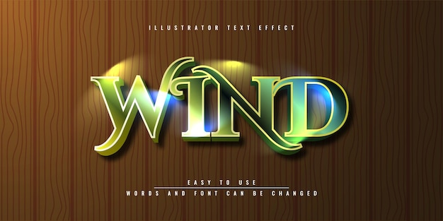 Disegno del modello di effetto testo 3d modificabile di wind illustrator