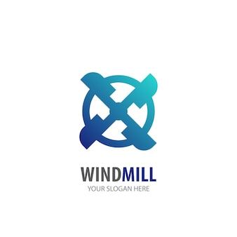 Logo del mulino a vento per società di affari. design semplice dell'idea del logo del mulino a vento. concetto di identità aziendale. icona creativa del mulino a vento dalla collezione di accessori.