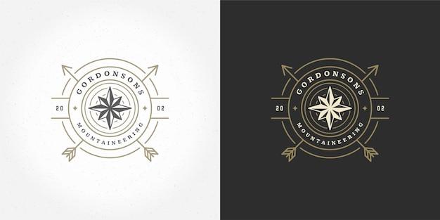 Rosa dei venti logo emblema illustrazione vettoriale spedizione all'aperto avventura bussola sagoma per camicia o timbro di stampa. design distintivo tipografia vintage.