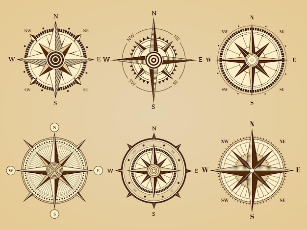 Rosa dei venti. simboli di viaggio marino nautico per simboli retrò di vettore di mappa di navigazione oceanica antica. illustrazione ovest e sud, nord ed est diretti