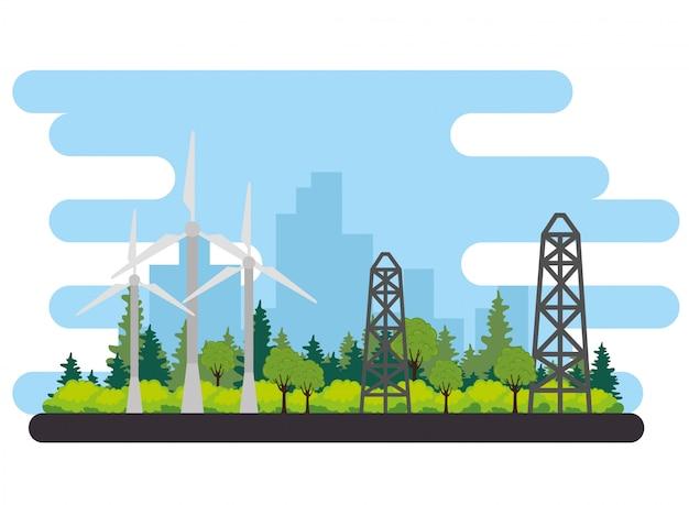 Progettazione dell'illustrazione di vettore della scena alternativa di energia del generatore eolico