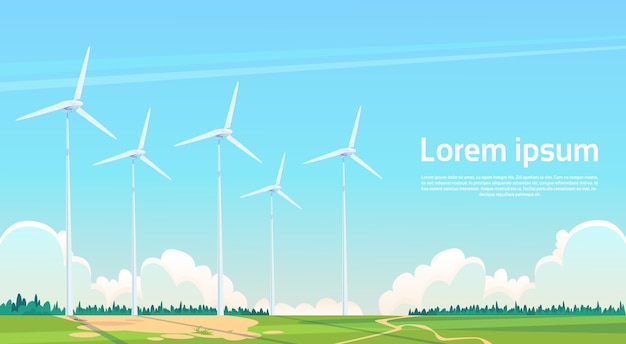 Fondo della natura della stazione rinnovabile di energia della turbina di vento Vettore Premium