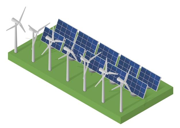 Potenza delle turbine eoliche. concetto di energia pulita isometrica. energia eolica. pannelli solari blu. isometrico piatto. energia alternativa moderna. energia ecologica.