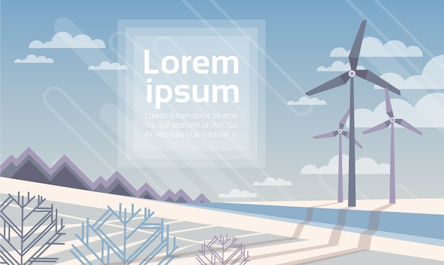 Torre delle turbine eoliche Vettore Premium