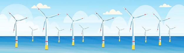 Insegna orizzontale orizzontale del fondo di vista sul mare di concetto della stazione di acqua rinnovabile di fonte di energia alternativa pulita delle turbine di vento