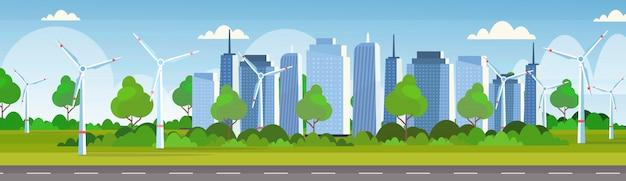 Insegna moderna orizzontale orizzontale del fondo dell'orizzonte di paesaggio urbano di concetto della stazione rinnovabile pulita di fonte di energia alternativa delle turbine di vento