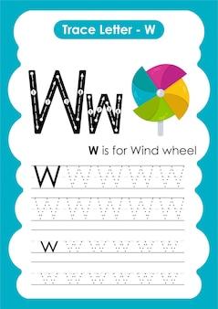 Ruota del vento traccia linee per scrivere e disegnare un foglio di lavoro per bambini