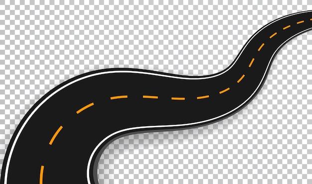 Effetto speciale trasparente isolato strada tortuosa. modello di infografica posizione strada strada.