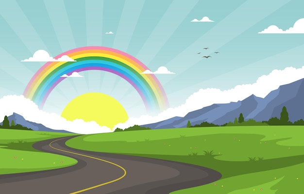 Illustrazione di paesaggio della natura dell'arcobaleno della strada tortuosa